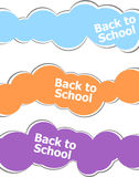Back to school words on stickers set isolated on white, education concept Stock Image
