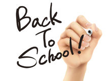 Back to school words written by 3d hand Stock Image