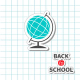 Back to school World globe on paper sheet background Exercise book. Royalty Free Stock Photos