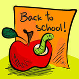 Back to school worm in apple. Fun grungy cartoon of friendly worm inside an apple in front of orange paper or sticky saying: back to school Royalty Free Stock Image