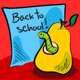 Back to school worm in pear. Fun grungy cartoon of friendly worm inside a pear in front of blue paper or sticky note with back to school on it Stock Photos