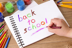 Back to school writing, child holding pencil or crayon Stock Images