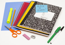 Back to school writing supplies Royalty Free Stock Photo