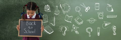 Free Back To School Writing With School Girl And Education Drawing On Blackboard For School Stock Image - 122210501
