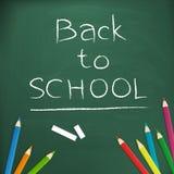 Back to school written on blackboard. Back to school written with chalk on blackboard illustration, form background stock illustration