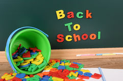 Back to school written on blackboard, desk, classroom Stock Image
