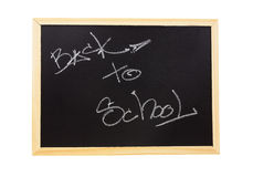 Back to school written on the blackboard isolated on white background Royalty Free Stock Images