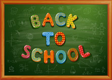 Back to school written on blackboard. Vector-Illustration Stock Images