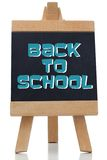 Back to school written in blue on chalkboard Stock Photography