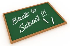 Back to school written on a chalkboard. Isolated Royalty Free Stock Photos