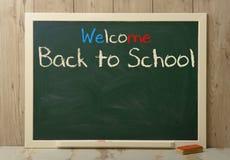 Back to school written on green blackboard Stock Image