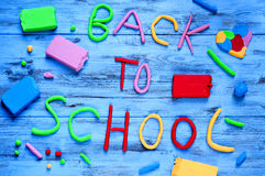 Back to school written with modelling clay of different colors Royalty Free Stock Image