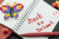 Back to school written on a notebook Royalty Free Stock Images