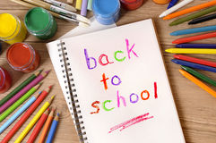 Back to school written in an open book, desk, pencils, classroom Royalty Free Stock Images