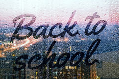 Back to school. Written on the rainy window Stock Images