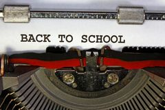 Back to school written typewriter Royalty Free Stock Images