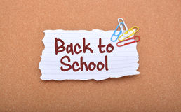 Back to School Written on White Paper Closeup Stock Image