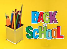 Back to School on Yellow Background With Stationery Items Royalty Free Stock Photography