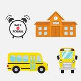 Back to school. Yellow bus set. Transportation.  Stock Photo