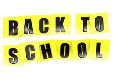 Back to school in yellow note Royalty Free Stock Images