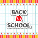 Back to school Yellow and red pencil frame on paper sheet background Exercise book Flat design Royalty Free Stock Photography