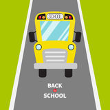 Back to school. Yellow school bus kids. Green grass and road. Cartoon clipart. Transportation. Full face view. Baby collection. Gr Stock Image