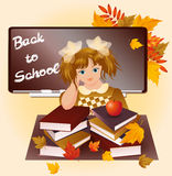 Back to school. Young girl with apple. Stock Images