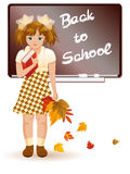 Back to school  Young girl with autumn leafs Royalty Free Stock Photography