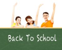 Back to school, young student raise hand to show Stock Image