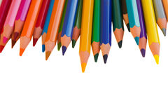 Back to schooll border of pencils Royalty Free Stock Photo