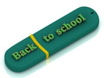Back to schooll - inscription bright volume letter on USB flash drive Stock Photo