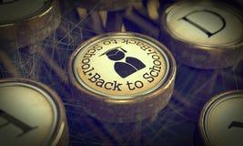 Back to Scool Typewriter Key. Grunge Background. Stock Photography