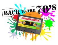 Back To The Seventies Cassette Background Stock Images