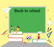 Back to the text of the school drawing with chalk on a blackboard with school subjects, books, characters and element fl vector illustration
