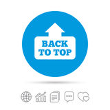 Back to top arrow sign icon. Scroll up symbol. Back to top arrow sign icon. Scroll up page symbol. Copy files, chat speech bubble and chart web icons. Vector Stock Photos