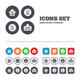 Back to top signs. Scroll up with arrow. Back to top icons. Scroll up with arrow sign symbols. Web buttons set. Circles and squares templates. Vector Stock Photo