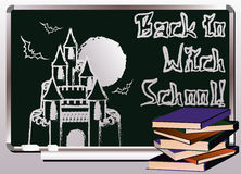 Back to Witch School. Invitation magic card Royalty Free Stock Photos