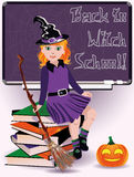 Back to Witch School. Little witch and books. Stock Images