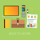 Back to work. Again suitcase graph notebook laptop notebook vector ready to work Stock Photos