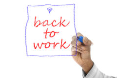 Back to Work written on wipe board Royalty Free Stock Photography