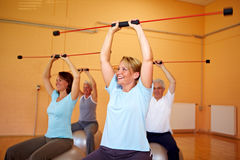 Back training with a flexibar. Group in gym doing fitness exercises with a flexibar Stock Photography