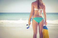Back turned blonde holding scuba diving gear Stock Photo