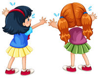 Back of two crying girls Stock Images