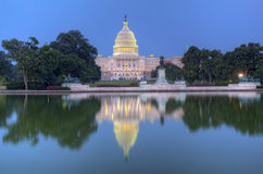 Back of the United States Capitol building and reflecting pool Royalty Free Stock Images