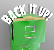 Back It Up Filing Cabinet Storage Important Documents. The words Back It Up in a filing cabinet to communicate a message of copying your important documents to Stock Images