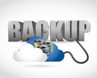Back up sign connected to a server cloud. vector illustration
