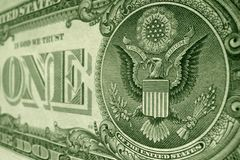 Back of the US one dollar bill, featuring ONE, and the American eagle. stock image