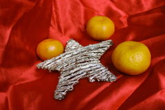 Back in USSR - mandarins, scarlet cloth and star like a symbol of the soviet new year's holidays Royalty Free Stock Image