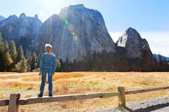 Kid in yosemite royalty free stock image