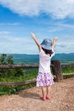 Happy asian girl relaxing outdoors in the daytime, travel on vac Stock Images